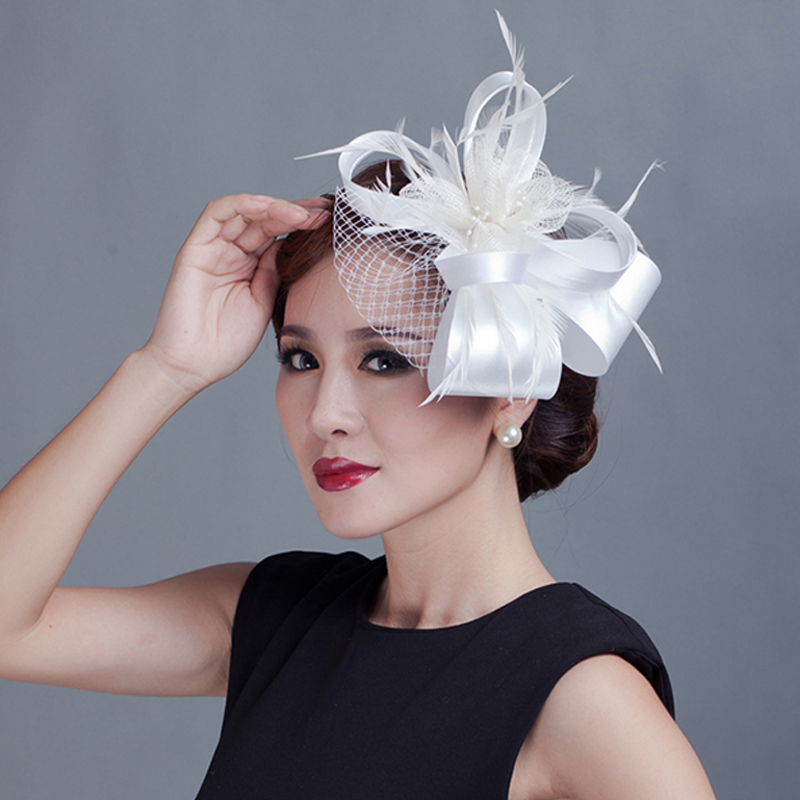 98e3af5e529 MYADREAM Elegant Lady Fedora Feather Mesh with Wide Ribbon Heardress for Wedding  Party Hats for Women Chapeu Feminino Toca-in Fedoras from Apparel ...