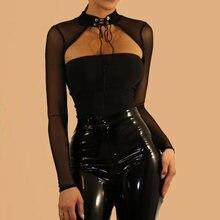 Прозрачный Монокини black mesh боди с длинным рукавом Кружева
