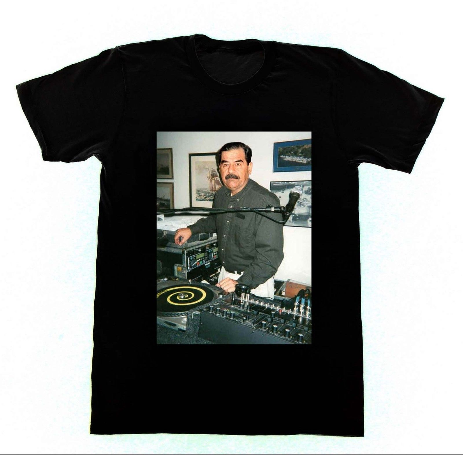 DJ Saddam Hussein - Shirt 35 Tshirt Technics 1200 Iraq House EDM Hip Hop