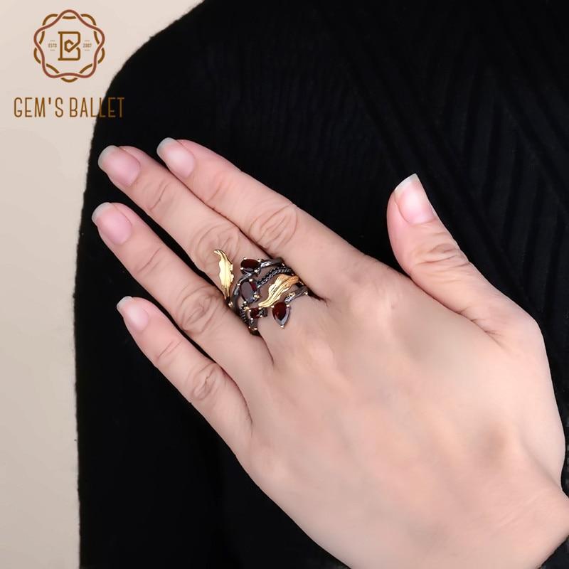 GEM'S BALLET 2.75Ct Natural Red Garnet Gemstone Finger Ring 925 Sterling Sliver Band Vintage Rings For Women Wedding Jewelry