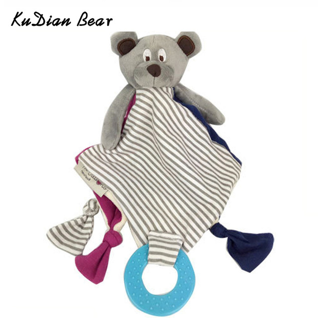 KUDIAN BEAR Baby Comforter Toy Bear Doll Appease Towel Doll Soft Plush Rattle With Ring Teethers Baby Juguetes BYC112 PT49