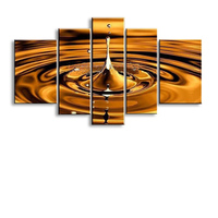 5 Panels Set Oil Painting Of Abstract Golden Water Drop Fashion Paintings Home Decoration Wall Art