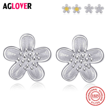 цены 925 Sterling Silver Earrings Shimmering Rose Petals Flower Stud Earrings Fashion Jewelry Gift For Women