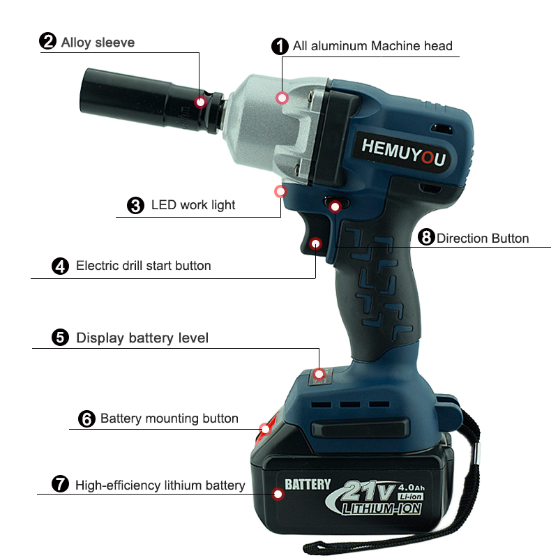 21v Brushless Electric Wrench Lithium Ion Battery Impact Tools Cordless Grade Drill In Wrenches From On