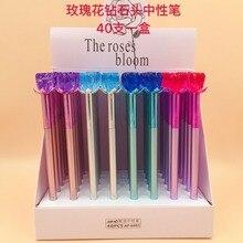 40 pièces/lot stylo gel diamant rose cristal fleur corée stylo créatif encre à leau stylo signe stylo filles cadeau de fête stylo décriture