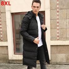 15510e00ae237 Winter plus size plus long hooded down jacket male tall can wear white duck  x-
