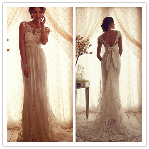 2018 Sheath Scoop Sleeveless Backless with Bow Sweep Train Lace and Applique 2018 Retro Bridal Gown mother of the bride dresses in Mother of the Bride Dresses from Weddings Events