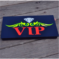 New VIP OPEN SIGN Epoxy Resin Glow VIP Card Luminous Tags Animated Motion Display Flashing On