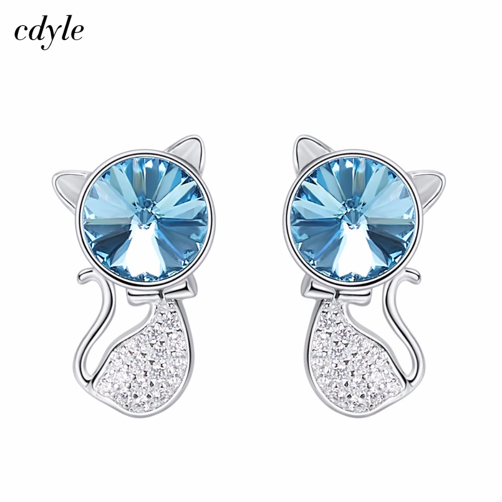 Cdyle Crystals from Swarovski Stud Earrings Women Earring Cat Shaped S925  Sterling Silver Jewelry Austrian Rhinestone New 41359cf6992c