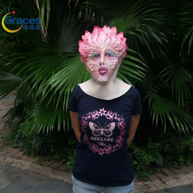 Cosplay de la cara llena de halloween fiesta de cumpleaños festival fiesta espíritu flor pendientes máscara máscara de carnaval