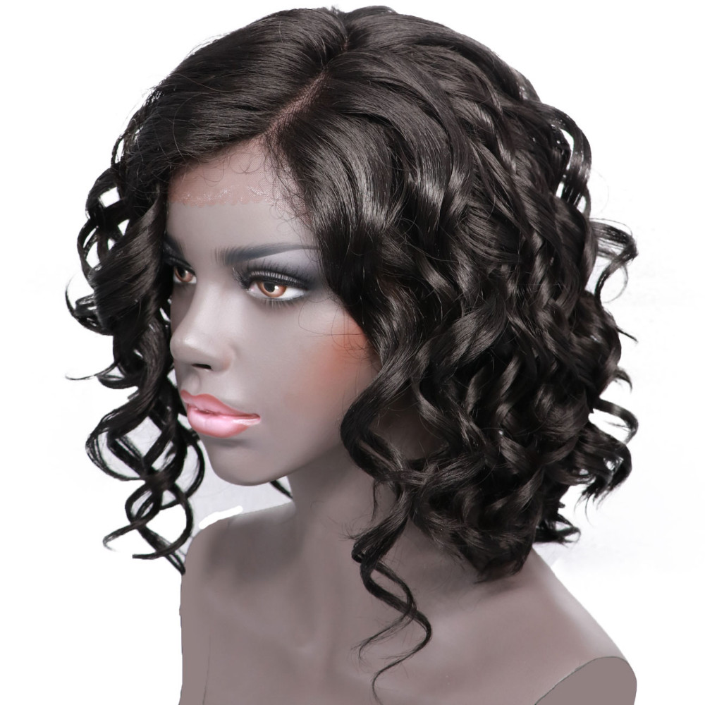 Short Curly Synthetic Wigs For Black Women Side Part High ...