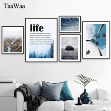 TAAWAA Nordic Life Quote Sea Landscape Canvas Painting Poster and Print Wall Art Decorative Picture for Living Room Home Decor