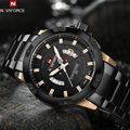 2017 Naviforce Mens Watches Top Brand Luxury Gold Black Quartz Men Watch Stainless Steel Waterproof Sport Clock Men's Wristwatch