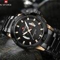 2017 naviforce mens relógios top marca de luxo de ouro preto homens relógio de quartzo relógio do esporte relógio de pulso dos homens de aço inoxidável à prova d' água