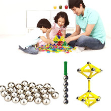 Magnet Bars Metal Balls Kids Magnetic Building Construction Toy DIY Early Educational Game Toy For Kids Christmas Gift  P39