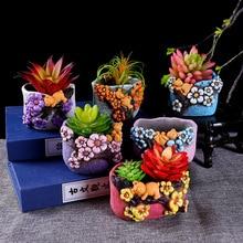 Plum embossed Flower Pots for Succulents Cactus Plants Mini Pot Planter China stype Pots Tray Home Garden Decoration