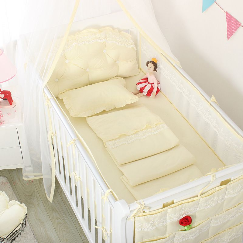 Summer Baby Lace Solid Color Crib Bumper Bed Surround Cool Breathable Mesh Bed Clothes Protector Cushion Summer Bedding LinenSummer Baby Lace Solid Color Crib Bumper Bed Surround Cool Breathable Mesh Bed Clothes Protector Cushion Summer Bedding Linen