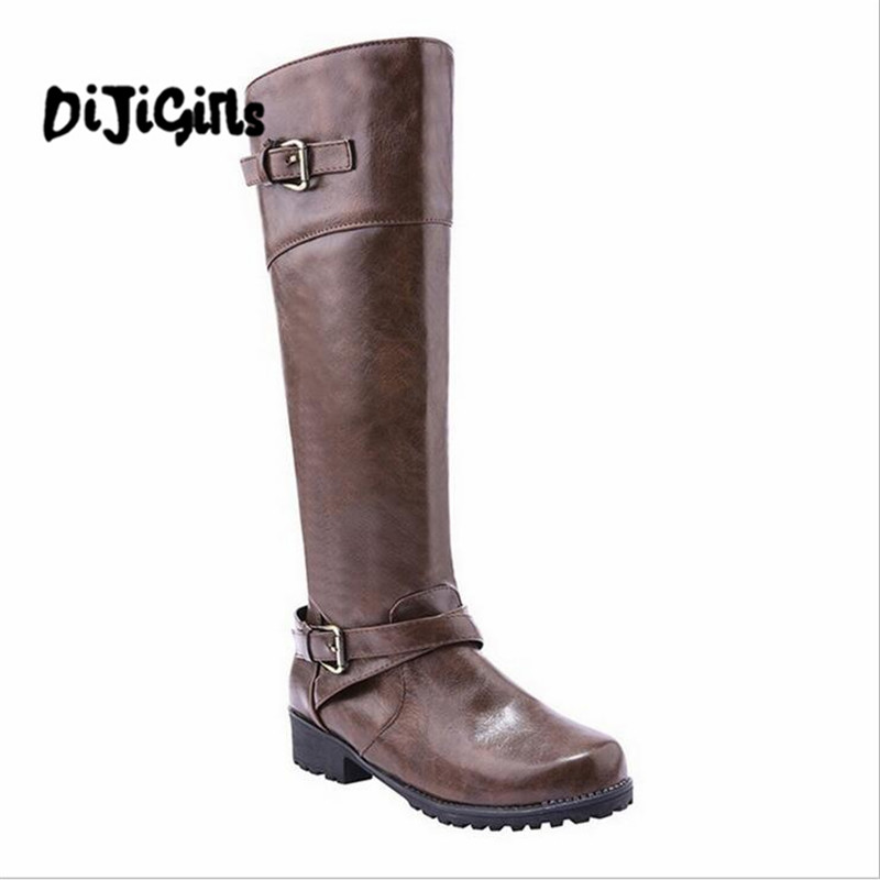 2018 Women Round Toe Mid Calf Boots Female Matte Leather Knight Boot Woman Buckle Low Heel Winter Shoe Heeled Footwear Size35-43 popular high quality full grain leather round toe mid calf boots size 40 41 42 43 44 zipper design square heel knight boots