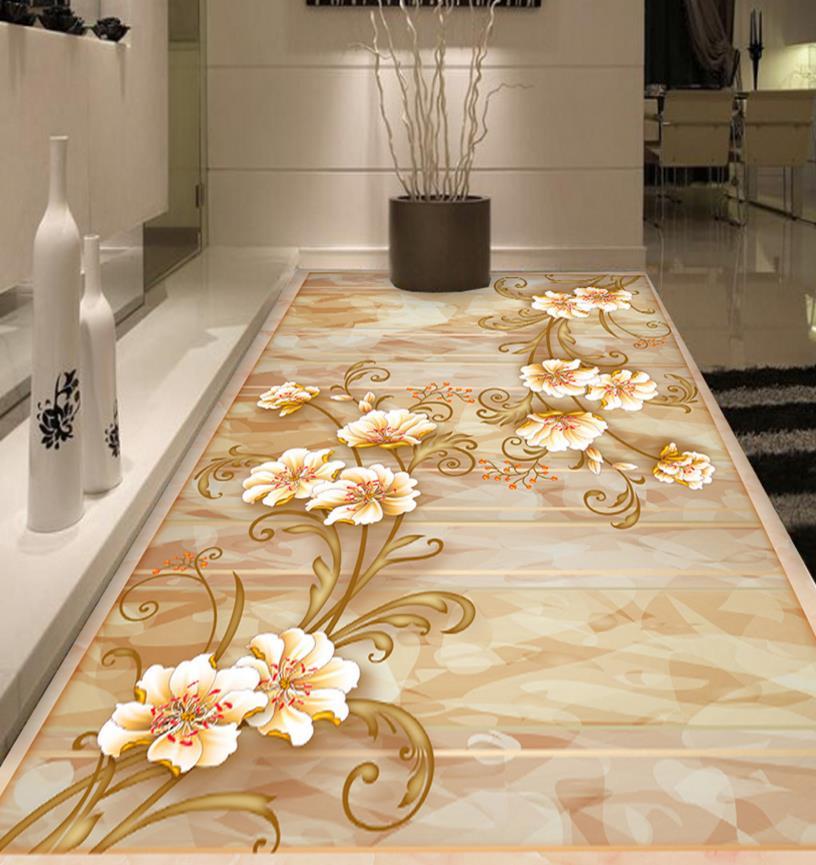 ФОТО Creative 3d stereoscopic flower vine floor custom plastic flooring pvc waterproof non-woven decoration floor wallpaper