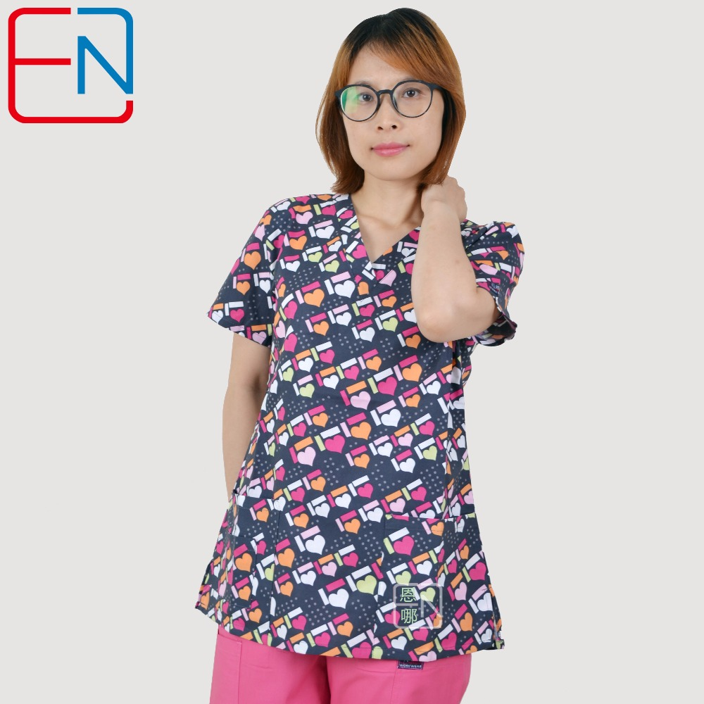180403 NEW Hennar Women Scrub Top With V Neck 100% Cotton Surgical Scrubs Top Limited Surgical Scrub Tops