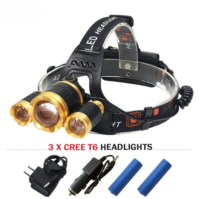 3 X CREE XML T6 led headlamp headlights lantern <font><b>10000</b></font> lumens head lamp camp hike emergency <font><b>light</b></font> fishing outdoor equipment