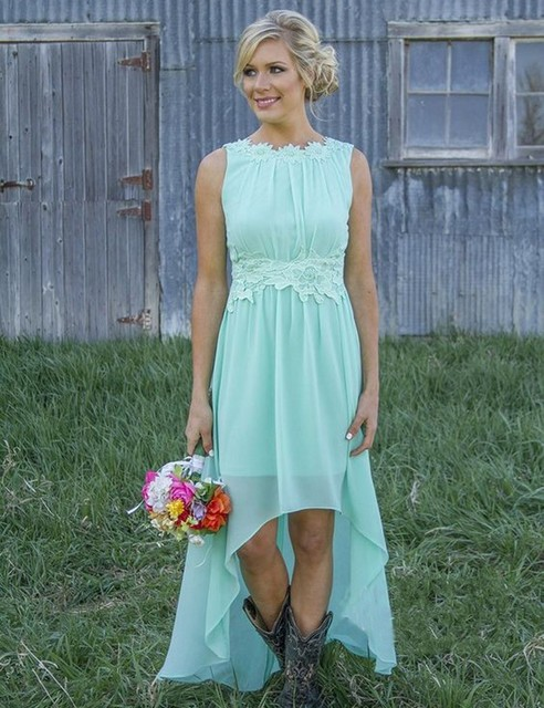 Open Back Romance Country Wedding High Low Lace Chiffon Mint Green Bridesmaid Dresses Robe Demoie