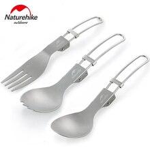 лучшая цена Naturehike Titanium Folding Spork Fork Spoon Ultralight Outdoor Tableware Camping Picnic Set Cooking Hiking Tableware Kitchen