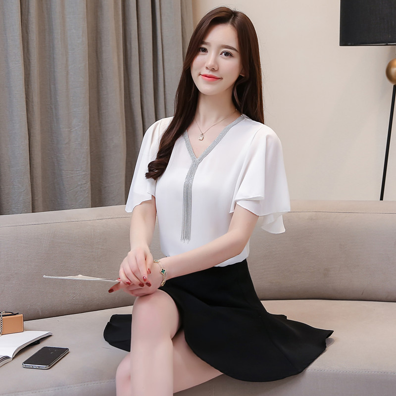 Women Blouse Shirts Summer Chiffon Shirts Tops Female Fashion Korean Office Lady Shirts Elegant Women Plus Size Blouse Tops XXXL