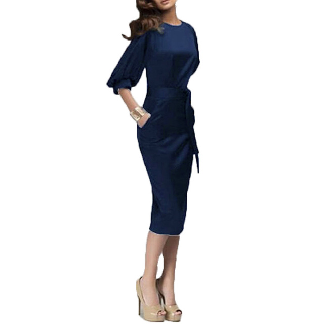 Zanzea 2017 Women Spring Autumn Work Dress European Half Sleeve Elegant Ladies Bodycon Pencil Slim Party Dresses Vestidos M-6XL