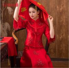 Traditional Show New spring summer clothes bride wedding Gown Robe Chinese style dress show red  Hot Womens Cheongsam