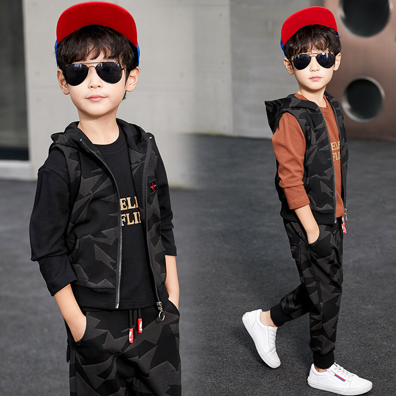 Kids Clothes Boys Sports Suit 2018 New Fashion Hooded Long Sleeve Sweatshirt + Pant 2pcs Toddler Boys Clothing Set 3 4 5 7 9 10 new spring kids clothes navy long sleeve pullover striped sports suit casual boys clothing set z249