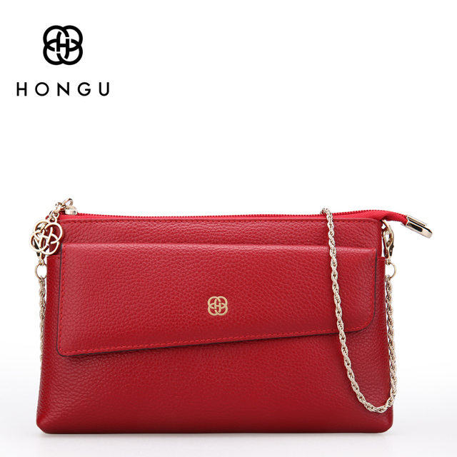 HONGU 100% Genuine Leather Women Handbags Shoulder Bag Chains Envelope Lady Evening Crossbody Package Wristlets Purs Clutch Bags