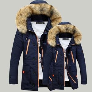 Image 4 - Engrossamento parkas homens 2020 jaqueta de inverno casacos masculinos outerwear gola de pele casual longo algodão wadded casaco com capuz