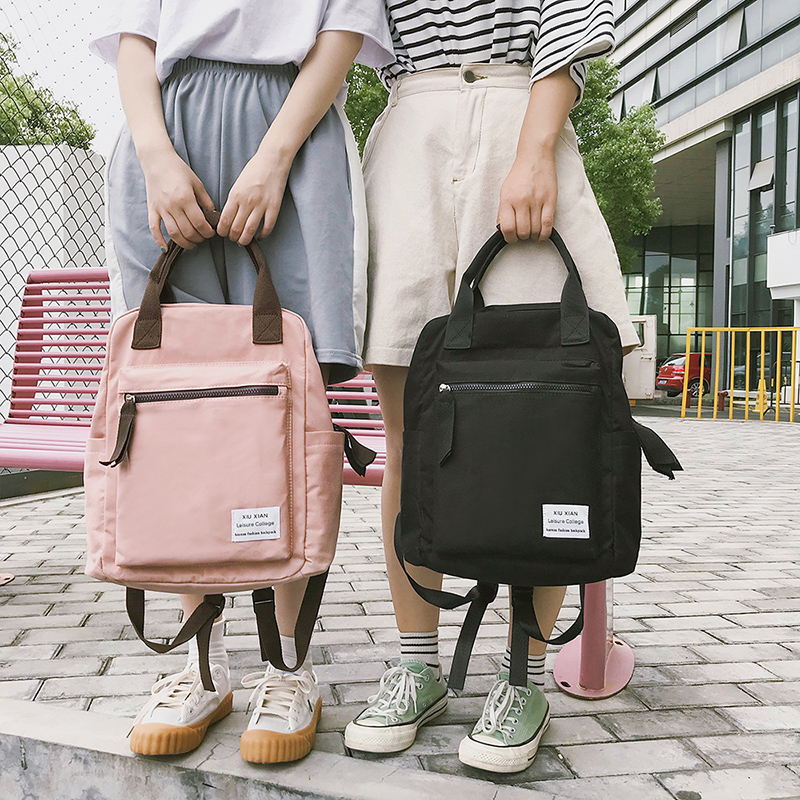 Korean Style Canvas Backpack For Women Simple Fashion Youth Travel Backpack Leisure School Bag Tote For Teen Girl Shoulder Bag(China)