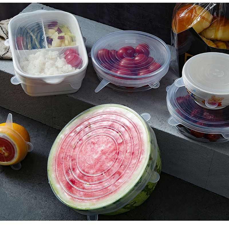 6 pçs tampas de silicone para cozinha reutilizável silicone tampa de alimentos tampas de estiramento universal capa de envoltório de alimentos alimentos frescos mantendo tampas de silicone elástico tampa mágica
