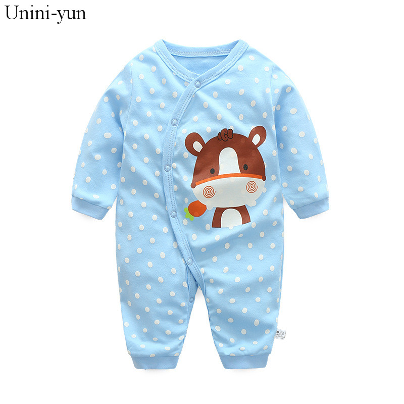 Baby Boys Girls Clothing Set Cute Cartoon Animal Toddler Jumpsuit Infant Cotton Long Sleeve Kids Clothes blue cow print clothes newborn baby girls rompers 100% cotton long sleeve angel wings leisure body suit clothing toddler jumpsuit infant boys clothes