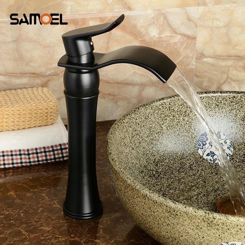 High Bathroom Black Basin Faucet Brass & Black Widespread Waterfall Mixer Tap Black Waterfall Faucets B3275 oye black 42
