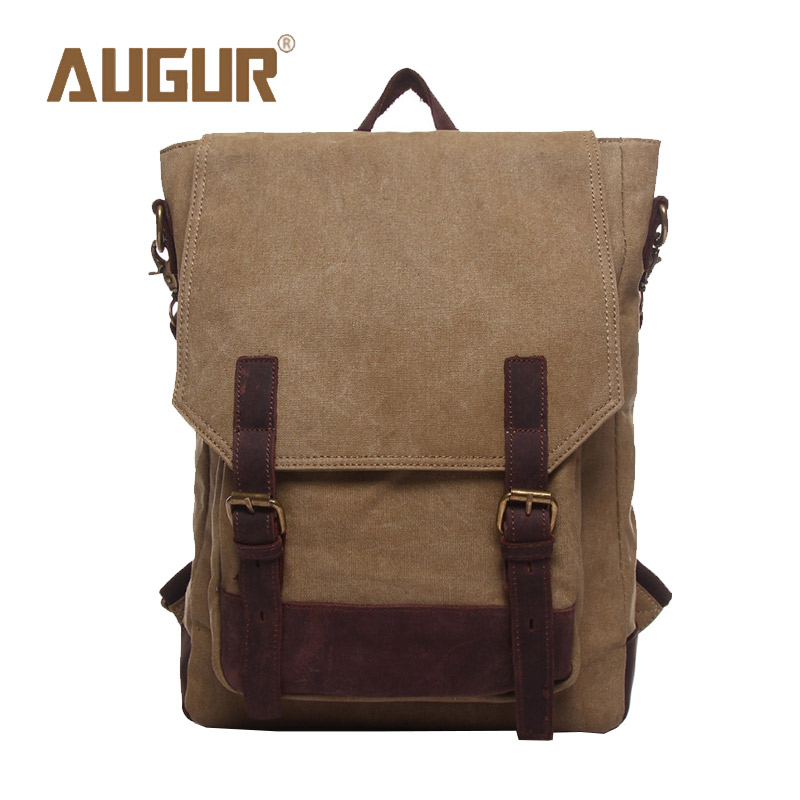 ФОТО AUGUR Brand New Fashion School Bags For Teenagers Leisure Canvas Crazy Horse Backpacks Girls Backpack Men HT100591