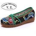 Старинные Вышивки Женщин Квартиры Повседневная Хлопок Ткань Ткань Балетная Обувь Китайский Скольжения на Женские Холст Платформы Zapatos Mujer