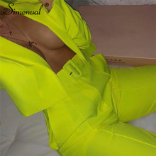 Simenual Neon Fashion Womens Suit Slim Sashes Cropped Blazer And Pants Outfits Casual Autumn 2019 Ladies Suits Set 2 Pieces New