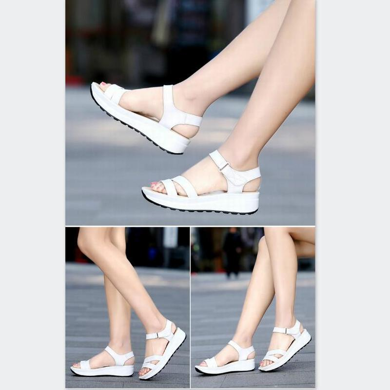 Fashion Women Sandals for 2019 Breathable Comfort Shopping Ladies Women Sandals Summer Platform Black Sandal Shoes in Middle Heels from Shoes