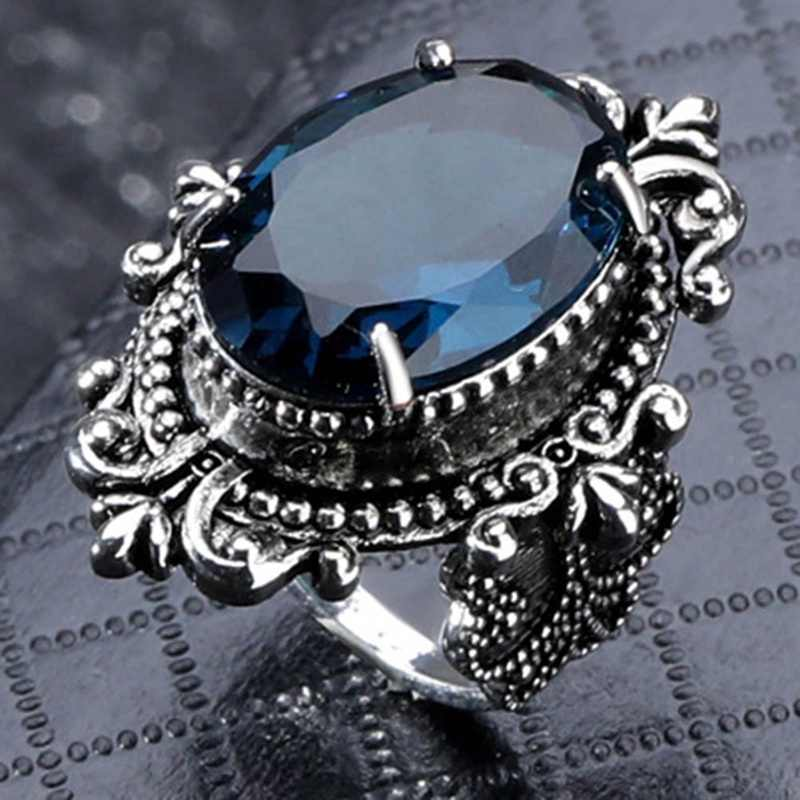 Blue Color  Fashion Ring Wedding Band Silver Vintage Jewelry Female Finger Ring Party Engagement Retro