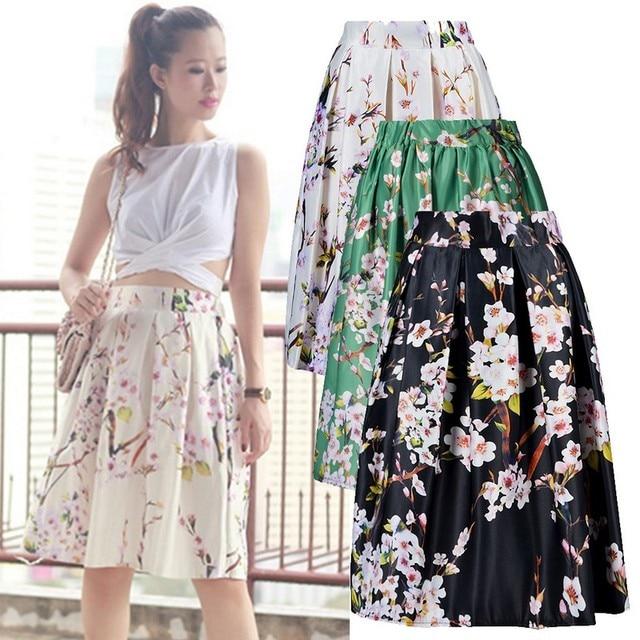 3fb468332 Women Sakura Floral Print Elastic High Waist Pleated Long Midi Skater Skirt  3 Colors White/Green/Black 2015 Spring New lxE3333*5