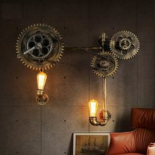 Loft Style Iron Water Pipe Lamp Edison Wall Sconce Wooden Gear Wall Light Fixtures For Home Indoor Vintage Industrial Lighting(China)