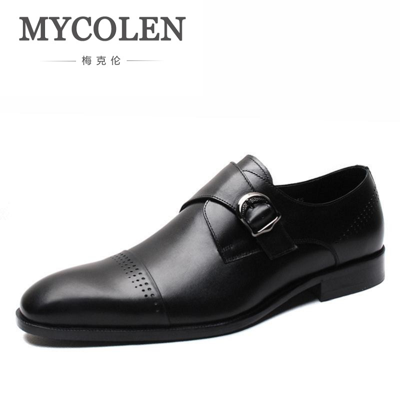 MYCOLEN New British Style Men Shoes Pointed Toe Genuine Leather Loafers Wedding Dress Shoes Oxford Buckle Mens Shoes Formal men s genuine leather pointed toe shoes lace up business dress shoes men british style party wedding fashion buckle high heels