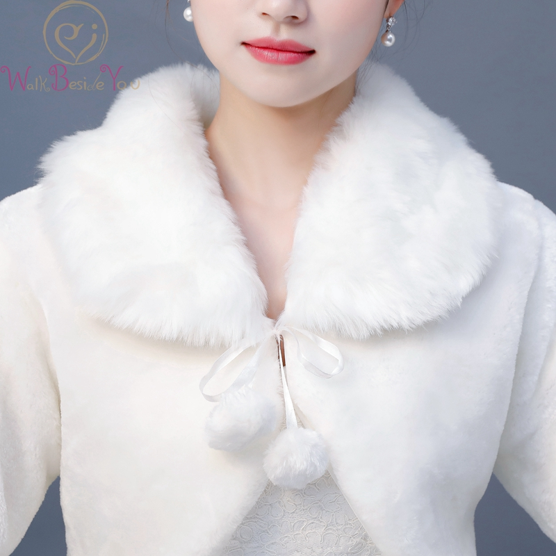 Купить с кэшбэком Walk Beside You Faux Fur Shawl Long Sleeve Ivory Wedding Party Bolero with Ribbon Bride Cape coprispalle donna Women Wrap Estola