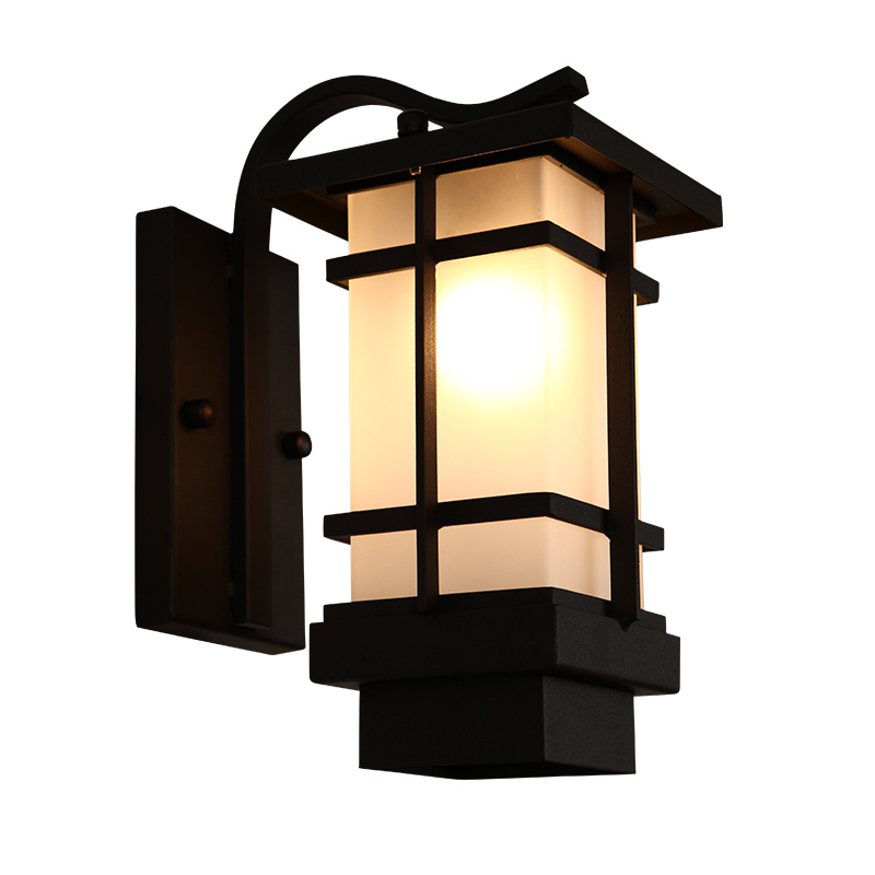 Vintage Wrought Iron Black Painted Wall Sconce Garden Outdoor Porch Wall Lamp with Frosted Glass Shade Light Villa Courtyard