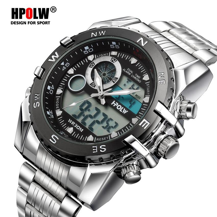 Luxury Brand HPOLW Mens Sports Watches Quartz Digital LED Military Watch Men Chronos Casual Electronics Wristwatches Relojes