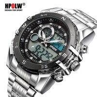Marca de luxo hpolw esportes dos homens relógios quartzo digital led militar relógio masculino cronos casual eletrônica relógios pulso relojes