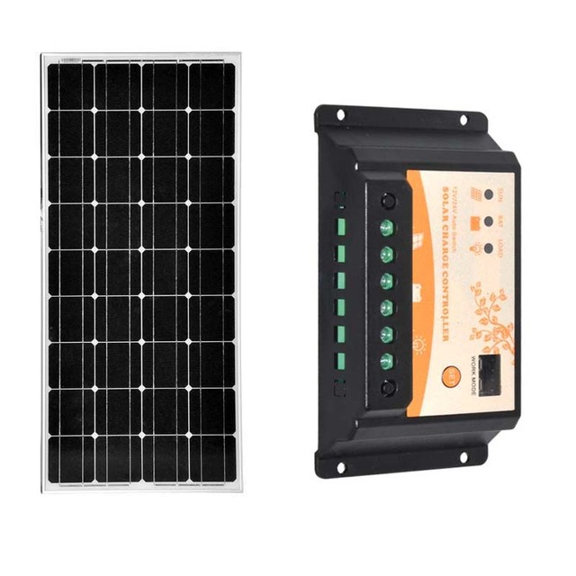 Panneau Solaire Kit Solar Panel 12v 100w Solar Charge Controller 12v/24v 20A PWM Solar Lighting System Camping Car Caravane
